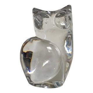 1970s Vintage Orrefors Crystal Owl Sculpture