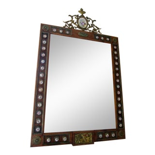 Antique French Style Porcelain Floral Medallions & Floral Bronze Ormulu Gilded Crown Wall Mirror