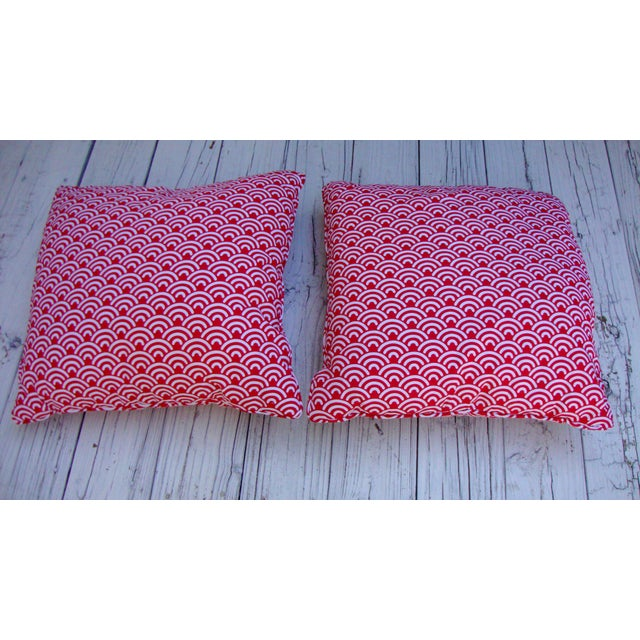 Custom Red White Modern Designer Pillows - A Pair - Image 5 of 7