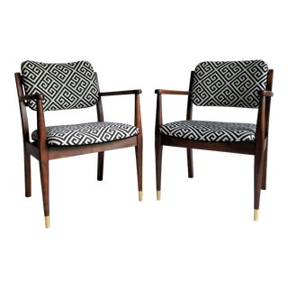 Mid-Century Walnut Accent Chairs - A Pair