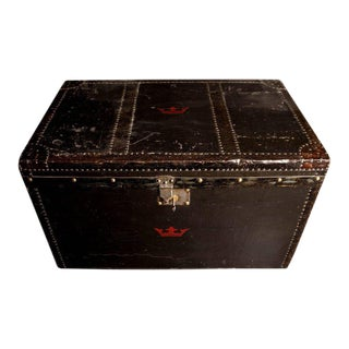 Black Leatherette Coaching Trunk of Great Style and Character, England