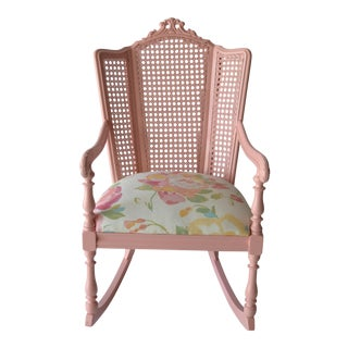 Vintage Pink Cane Rocking Chair