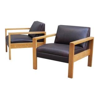 Gunlocke Solid White Oak Armchairs - A Pair