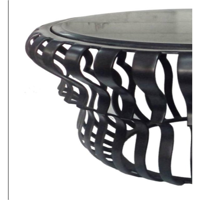 Image of Black Aluminum & Clear Glass Top Coffee Table
