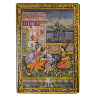Indo-Persian Style Minature Painting on Stone Framed