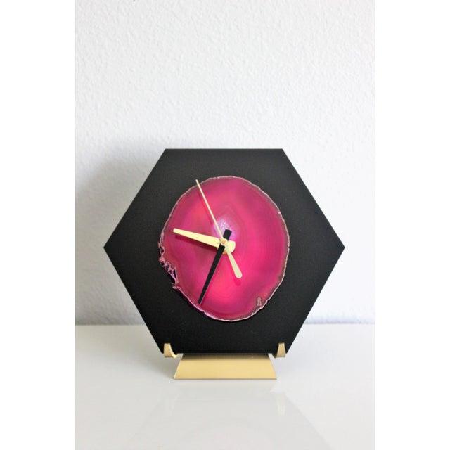 Modern Pink/Black SoLo Agate Hex Desk Clock - Image 4 of 8