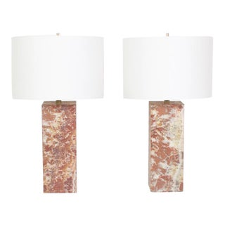 Pair of Mid-Century Modern Marble Table Lamps