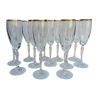 Crystal Gold-Rimmed Champagne Flutes - Set of 12