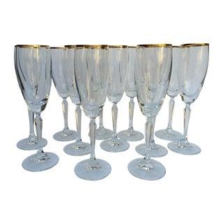 Crystal Gold-Rimmed Champagne Flutes - Set of 12