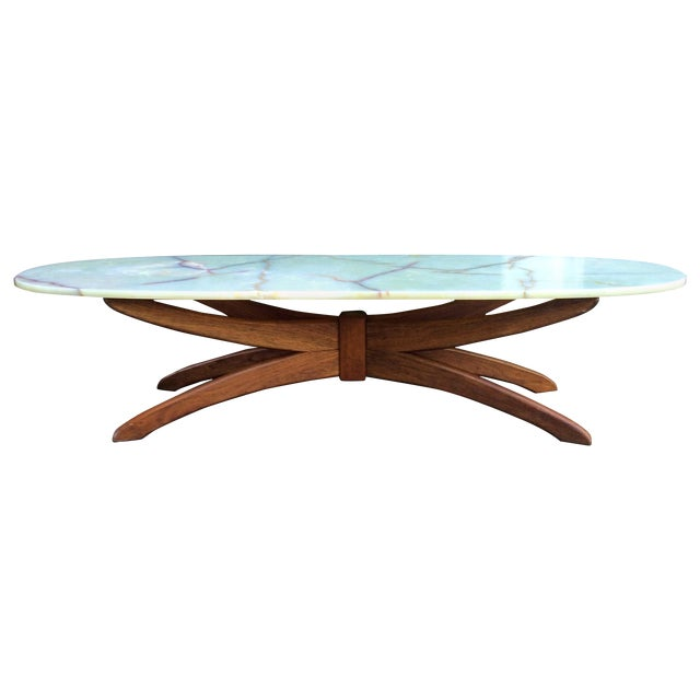 Mid Century Oval Coffee Table With Marble Top - Image 1 of 3