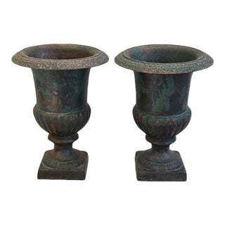 1930s Heavy French Cast Iron Urn Planters - Pair
