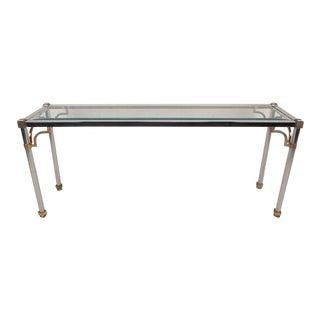 Maison Jansen Style Mid-Century Modern Chrome & Brass Console Table