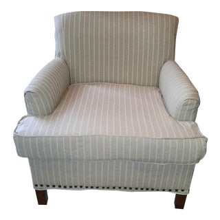 Linen Chair with Square Nailhead Trim
