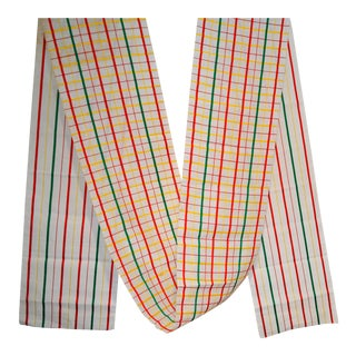 White, Red & Green Japanese Linen Obi