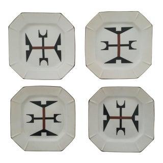 Vintage Modernist Japanese Ceramic Dessert Plates - Set of 4