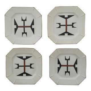 Vintage Modernist Japanese Ceramic Dessert Plates - Set of 4