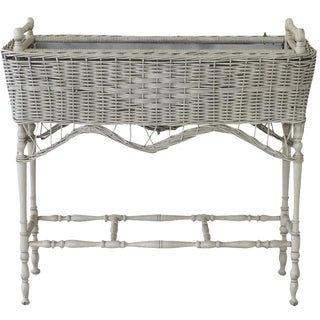 Antique White-Painted Wicker & Wood Planter