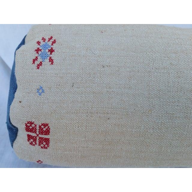 Homespun Embroidered French Grain Sack Neck Pillow - Image 3 of 4