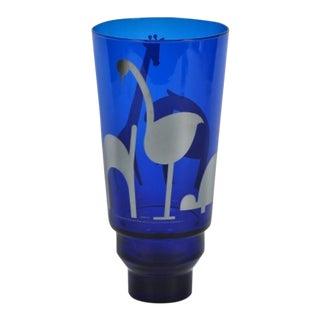 Egizia by Sottsass Associates Animal Motif Cobalt Blue Vase
