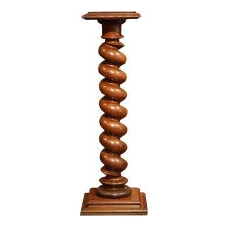 19th Century French Carved Walnut Barley Twist Pedestal