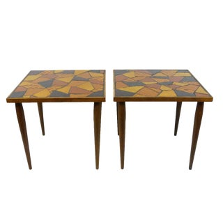 Mid-Century Mosaic Stained Glass Side Tables - A Pair