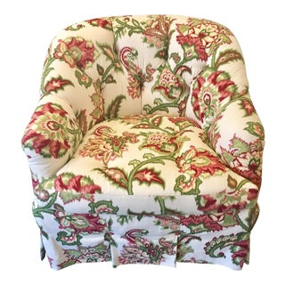 Custom Tufted Floral Club Chair