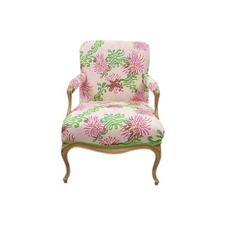 Louis XV Style Lilly Pulitzer Fabric Upholstered Armchair