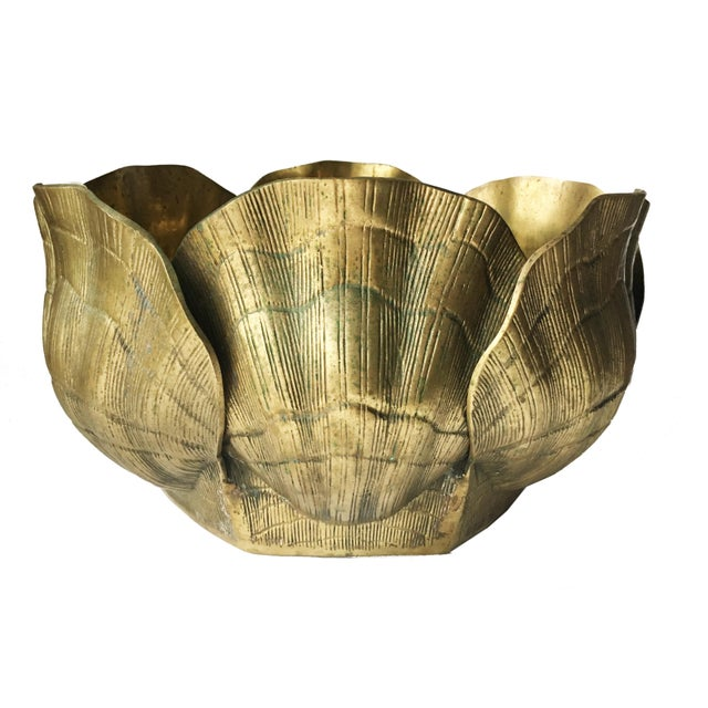 Vintage Large Shell Brass Planter or Cachepot - Image 3 of 7
