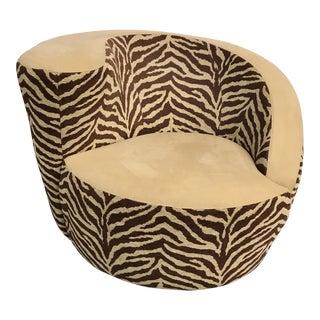 Zebra Swivel Barrel Chair
