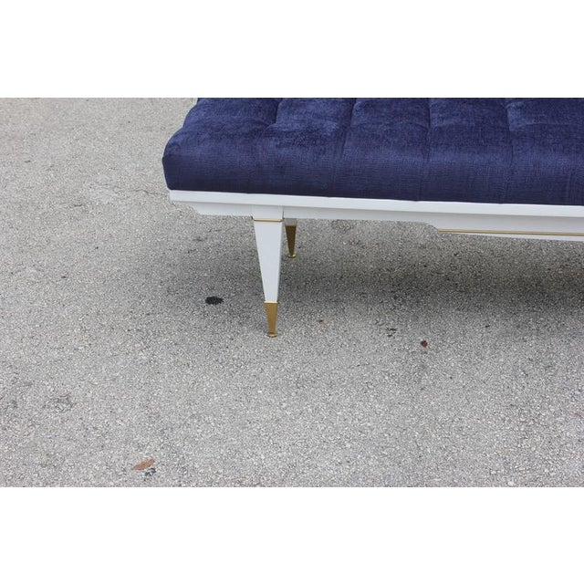 Image of 1940s French Art Deco White Lacquered Bench