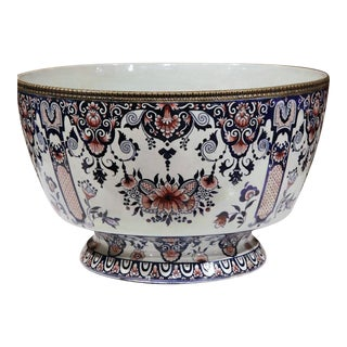 19th Century French Hand-Painted Faience Cachepot