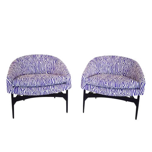 Pair of Lawrence Peabody Upholstered Barrel Back Lounge Chairs - Image 1 of 5