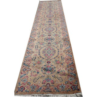 "Vintage Savanneri Inspired Persian Kerman Runner - 3'5"" X 16'2"""