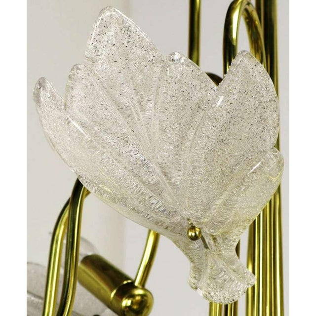 Image of Nine Arm Murano Glass Leaf Chandelier In The Style Of Barovier & Toso