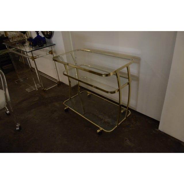 Image of DIA Three-Tier Brass and Glass Bar, Drinks, Tea or Service Cart /Trolley