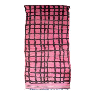 Hand Knotted Pink Geometric Moroccan Rug - 5' X 9'
