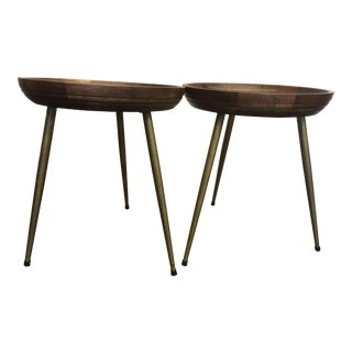 Mango Wood & Brass Finished Side Tables - A Pair