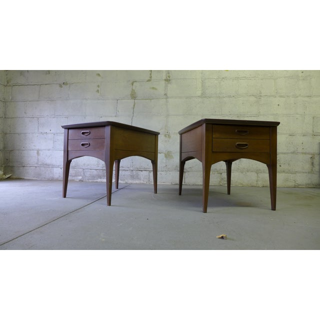 Mid Century Modern Walnut Nightstands - A Pair - Image 5 of 6