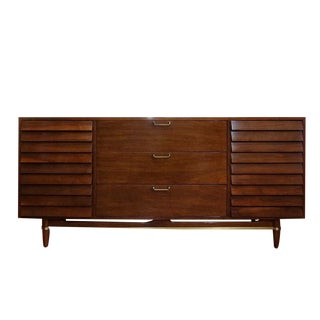 Mid-Century Modern American of Martinsville Dania Collection Louvered Walnut Credenza