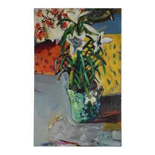 Jack Freeman Modernist Still Life with Lilies 1971-1972