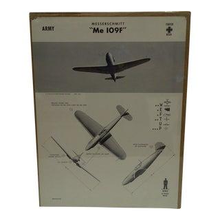 Circa 1942 WWII Aircraft Recognition Poster Messerschmitt Me 109f German