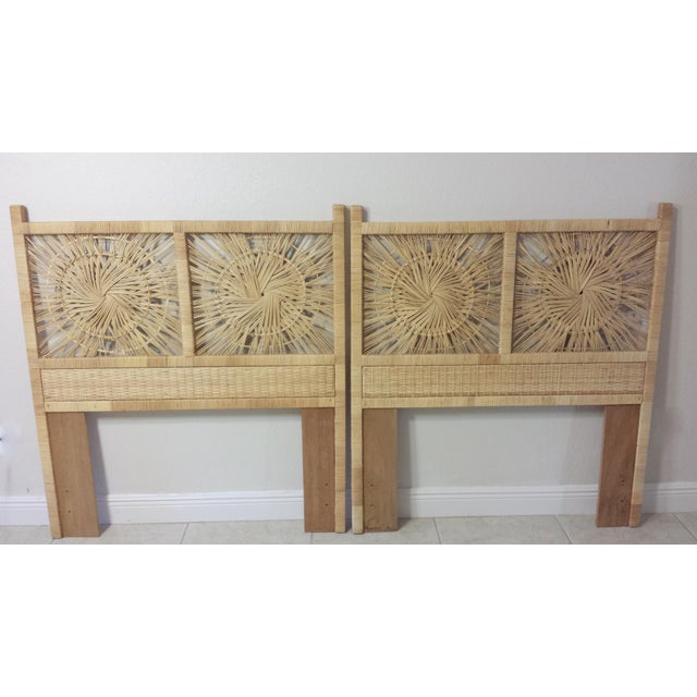 Woven Rattan Twin Headboards - A Pair - Image 3 of 9