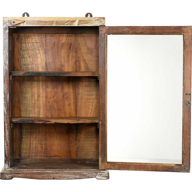 Image of Rustic Brown Wood Showcase Wall Cabinet
