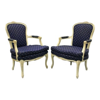 Carved Wood White Painted French Country Louis XV Style Armchairs - A Pair