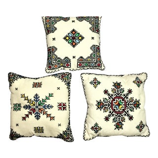 Fez Moroccan Embroidered Pillow - Set of 3