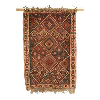 Circa 1930 Persian Kilim Geometric Patterned Rug - 5′2″ × 7′11″
