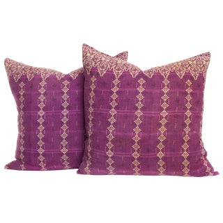 Vintage Kantha Pillows - A Pair