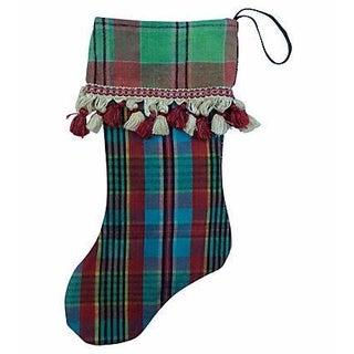 Vintage Madras Plaid Christmas Stocking