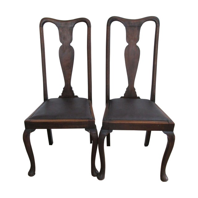 Antique Queen Anne Chairs - A Pair | Chairish