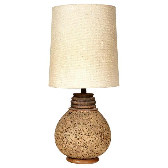 Image of 1960s Cork Barrel Lamp